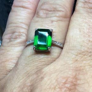 Jewelry - Rectangle cut genuine emerald silver ring